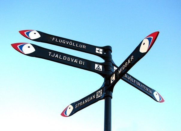 A street sign with pictures of puffins in the Westman Islands