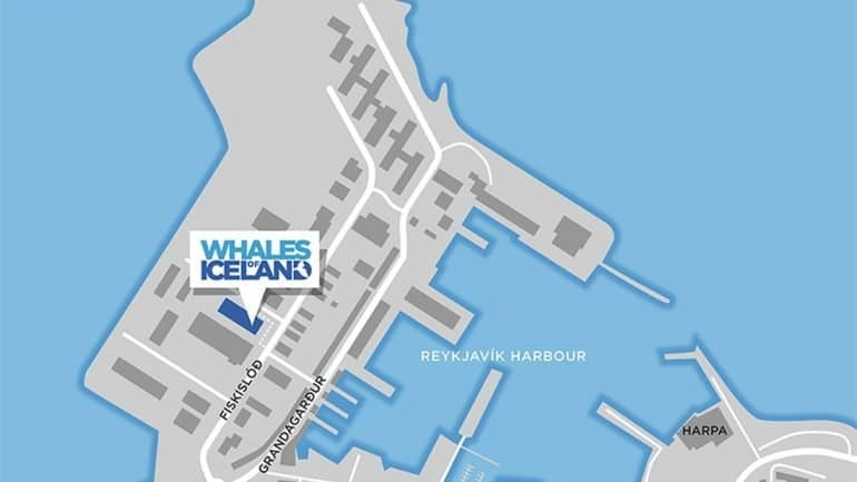 A map showing the Whales of Iceland Exhibition in Reykjavik