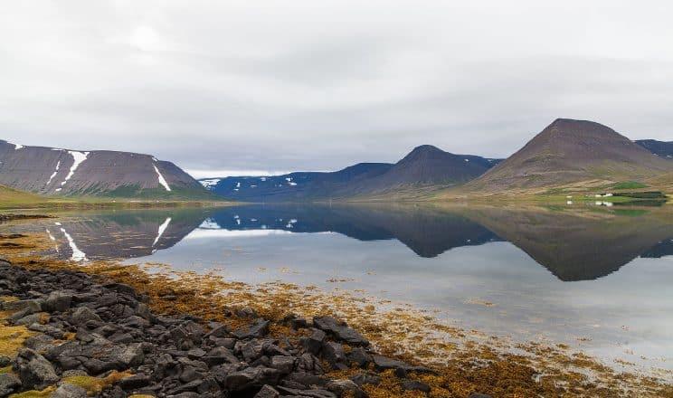 Montagnes reflétées dans l'eau du fjord Dyrafjordur dans les fjords de l'Ouest en Islande.