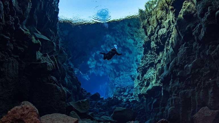 Diver at Silfra Iceland