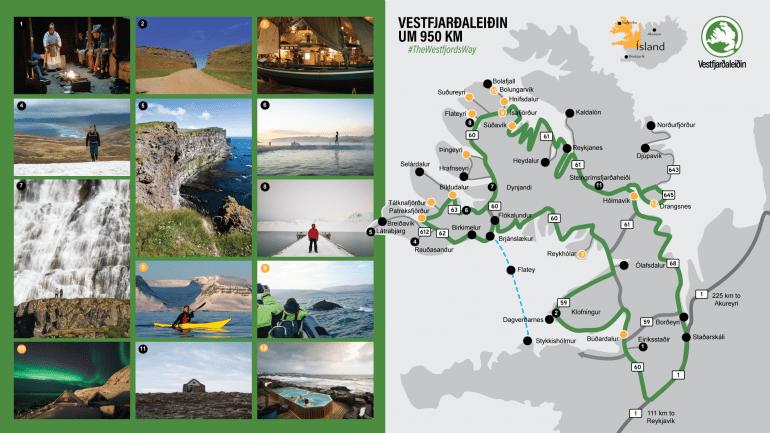 Carte du Westfjords Way avec des photos des lieux sélectionnés.