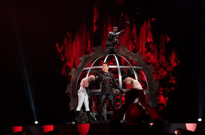 The band Hatari performing at the Eurovision Song Contest rehersals