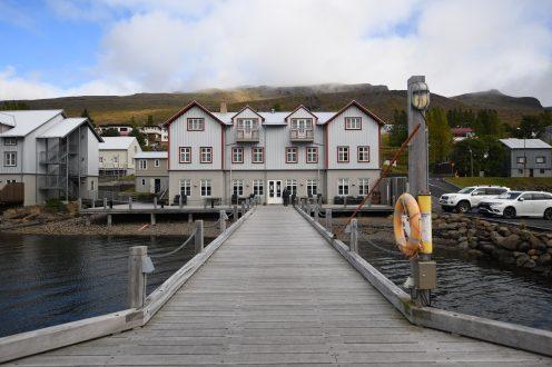 Fosshotel and rebuilt pier in Faskrudsfjordur