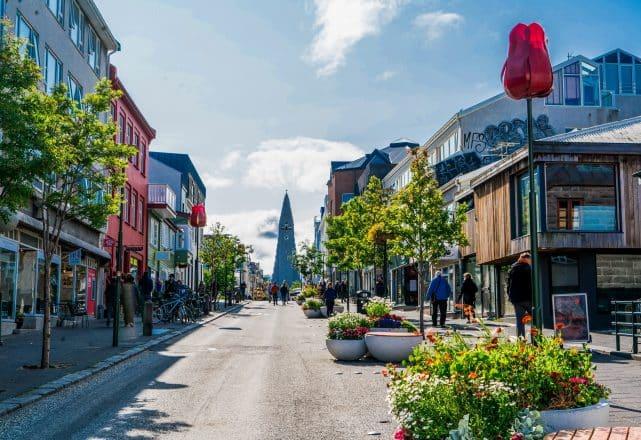 A colourful street in Reykjavik