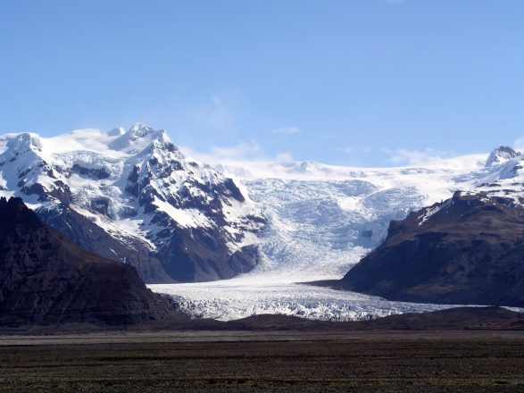 A glacier pouring down a mountain at Skaftafell Nature Reserve