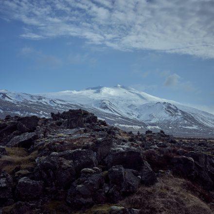 Snæfellsjökull Glacier towering over a lava field on Snæfellsnes Peninsula