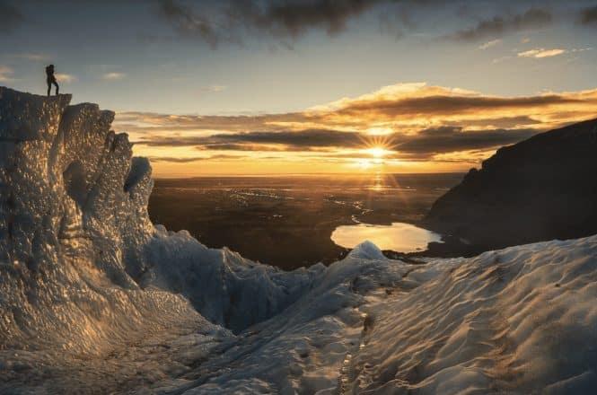 Sunset at Solheimajokull Glacier