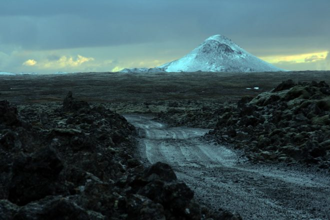Snow-covered Mt. Keilir on Iceland's Reykjanes Peninsula.