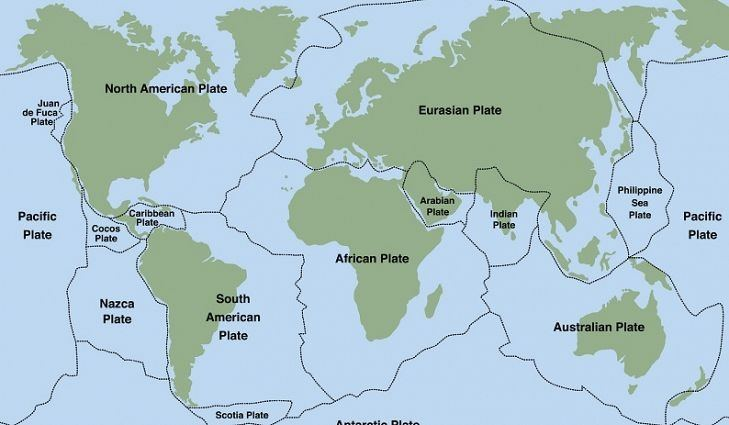 A map showing the Earth's tectonic plates