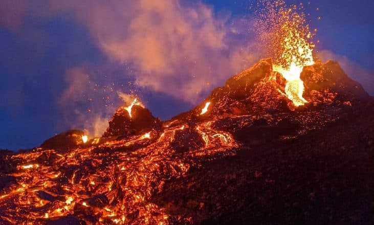 Lava flowing from a volcano in Iceland
