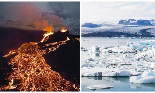 Image combinée d'un volcan et d'un glacier