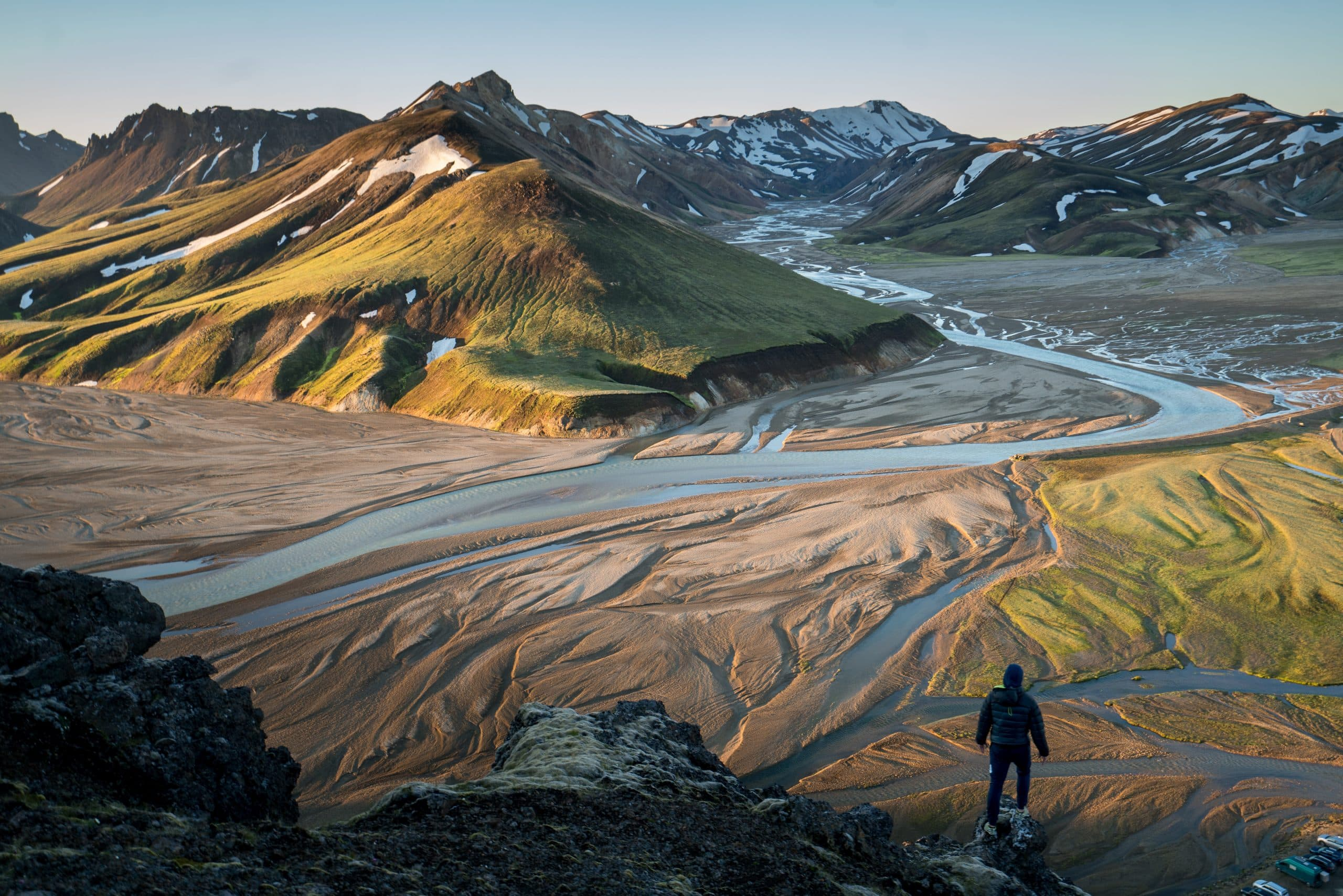 A view over a river at the Landmannalaugar Region in the Icelandic Highlands.