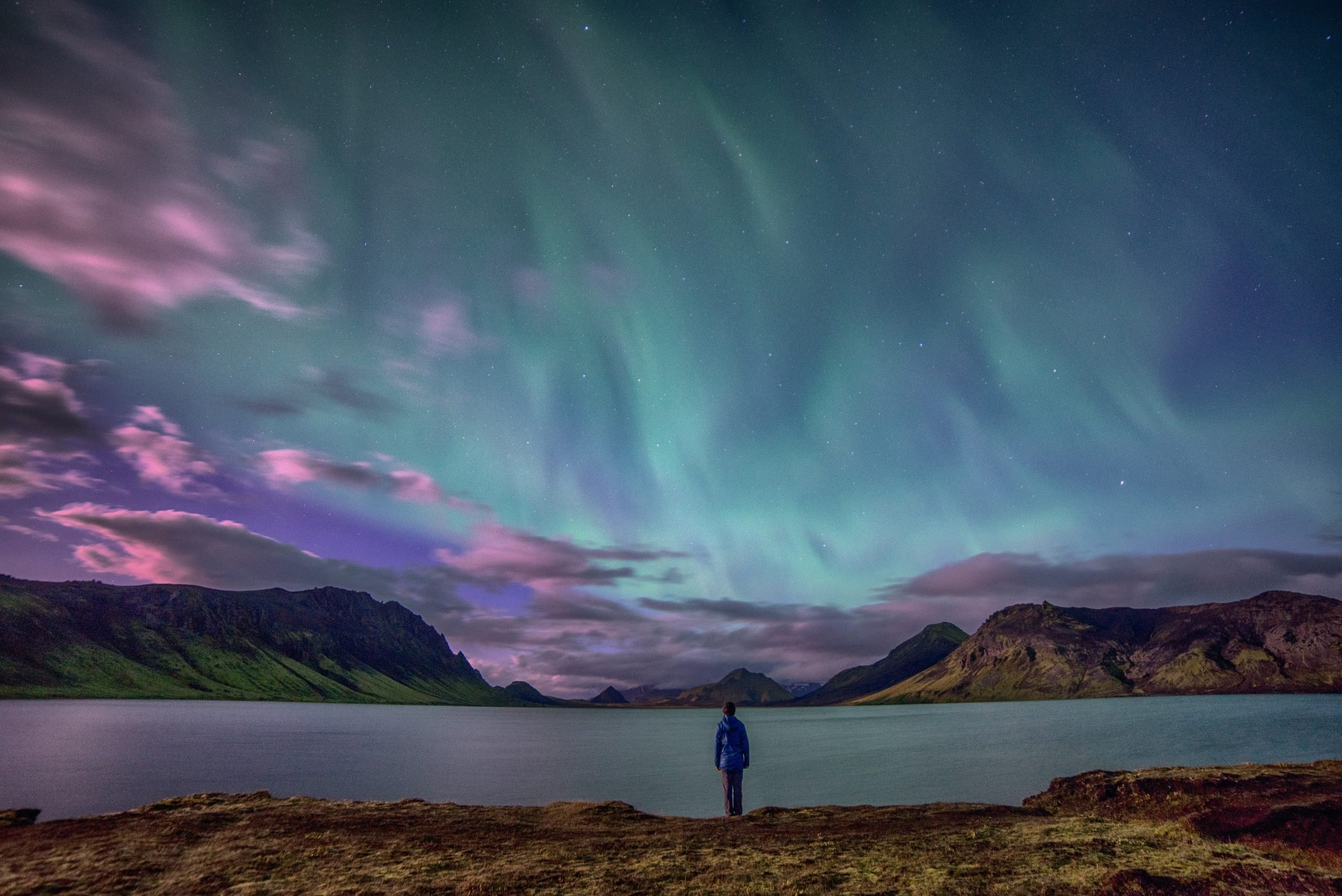 Northern Lights over a lake in the Icelandic Highlands.