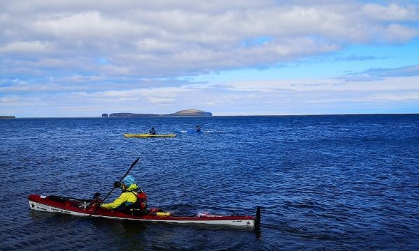 Three kayakers on the blue ocean in North Iceland.