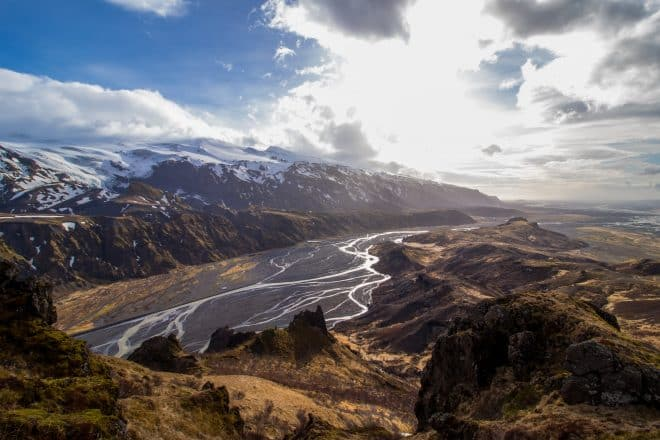 Rivers and mountain in Thorsmork Valley in the Icelandic Highlands.