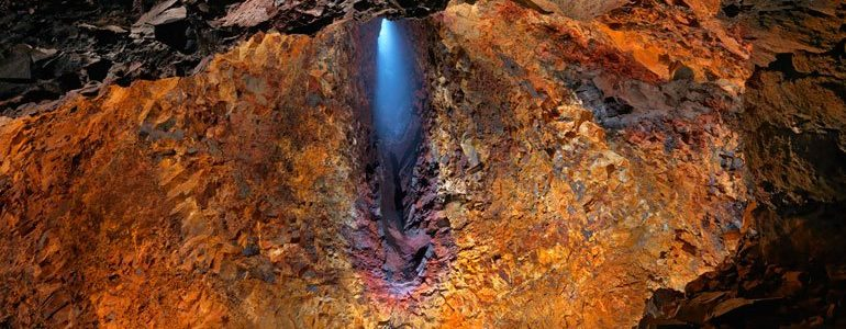 View from inside the crater of a volcano in iceland